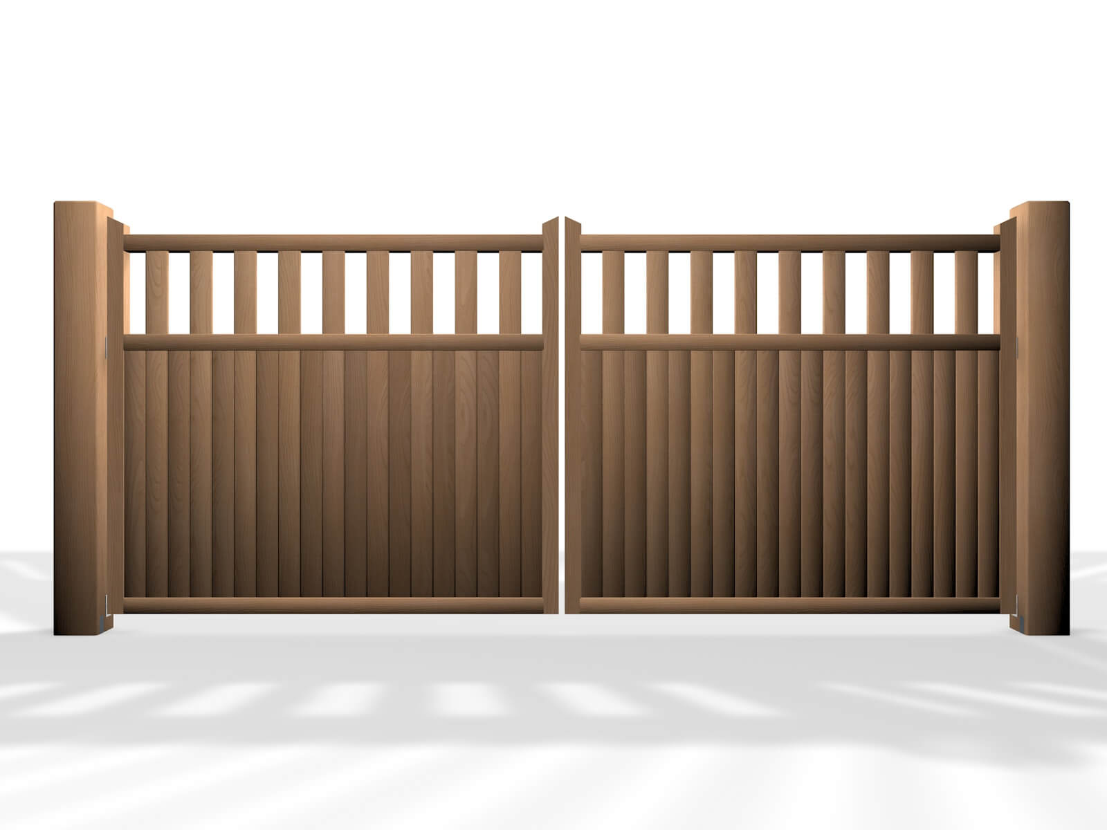 flat top open rail wooden swinging driveway gate