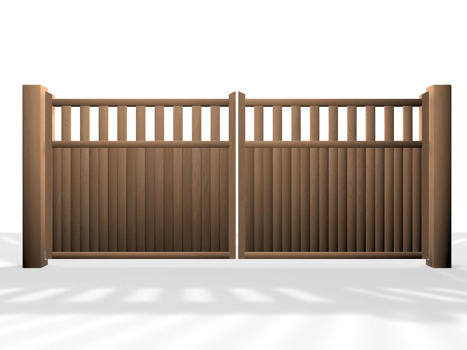 flat top open rail wooden swinging driveway gate