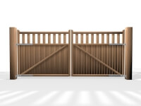 flat top open rail wooden swinging gate