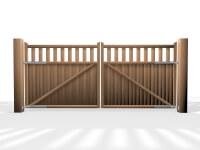 flat top open rail wooden swinging gate