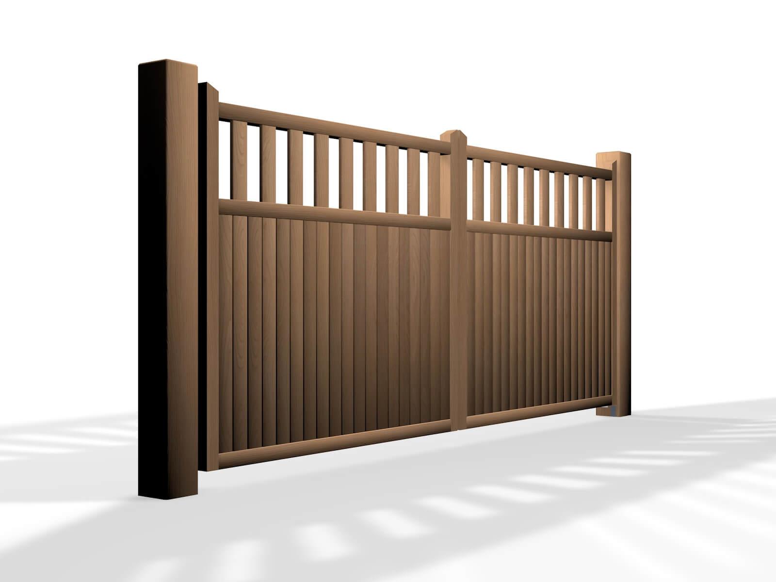 flat top open rail wooden swinging gate somerset
