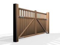 flat top open rail wooden swinging gate bristol