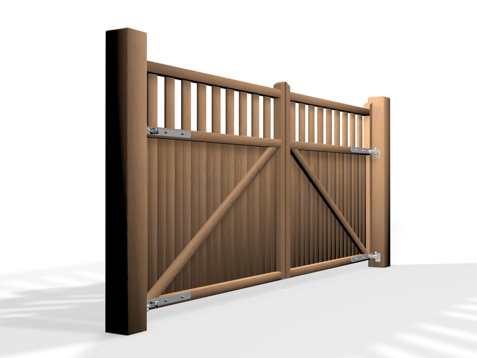 flat top open rail wooden swinging gate bristol